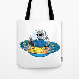 """Alien Spaceship """"Warp Speed"""" Tote Bag"""