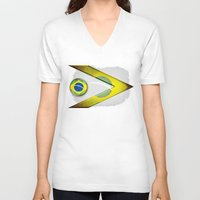 brasil V-neck T-shirts featuring Brasil by ilustrarte