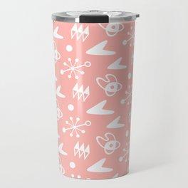 Mid Century Modern Atomic Boomerang Pattern Peach Travel Mug