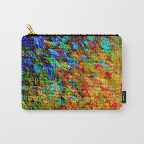 COLLISION COURSE - Bold Rainbow Splash Bricks Urban Jungle Ocean Waves Nature City Acrylic Painting Carry-All Pouch