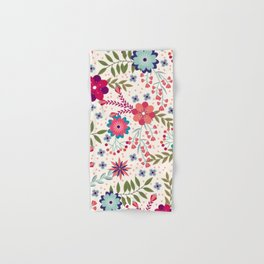 Colorful Floral Spring Pattern Hand & Bath Towel