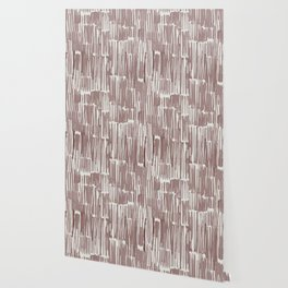 Simply Bamboo Brushstroke Red Earth on Lunar Gray Wallpaper