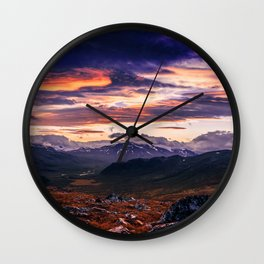 Cloud Covered Mountains Wall Clock