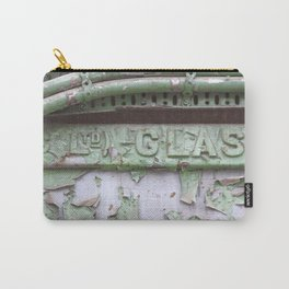 Flaked green paint on old press from Glasgow Carry-All Pouch