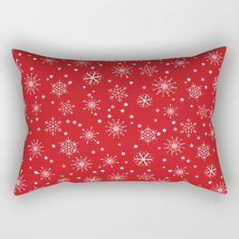 Red & White Snowflakes Pattern Rectangular Pillow