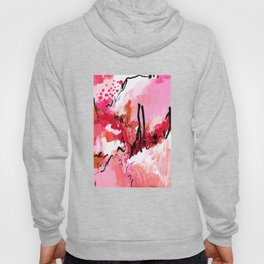 Abstract pink painting with texture triptych III Hoody
