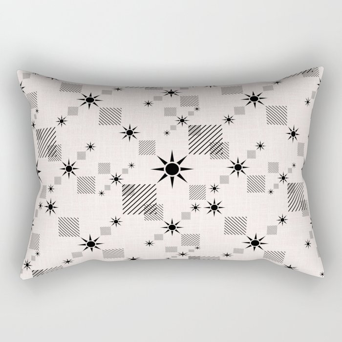 Abstract black pattern on a cream background Rectangular Pillow