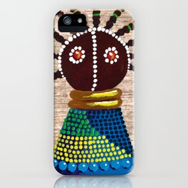 African kenyan doll in blue dress iPhone Case