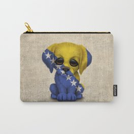 Cute Puppy Dog with flag of Bosnia - Herzegovina Carry-All Pouch