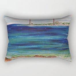 Thatcher island lighthouses on a peaceful day Rectangular Pillow