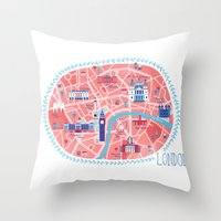 london map Throw Pillows featuring London Map by Emily Golden