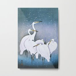 Egrets in the Snow Metal Print