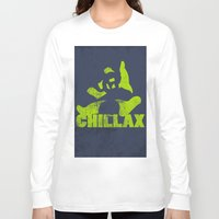 lime green Long Sleeve T-shirts featuring chillax lime green grunge panda by Moonlake Designs