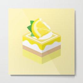 Yellow Lemon Cake Metal Print
