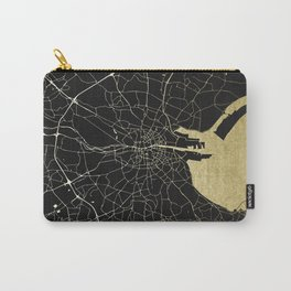 Dublin Ireland Black on Gold Street Map Carry-All Pouch