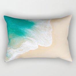 Sand Beach - Waves - Drone View Photography Rectangular Pillow