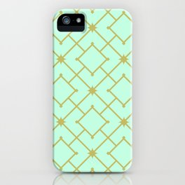 Pastel Mint Stars and Squares Lattice iPhone Case