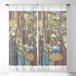 Will the Wandering Gnome Shares a White Hat with Jesus (Gnome Art) (Christmas Art) Sheer Curtain