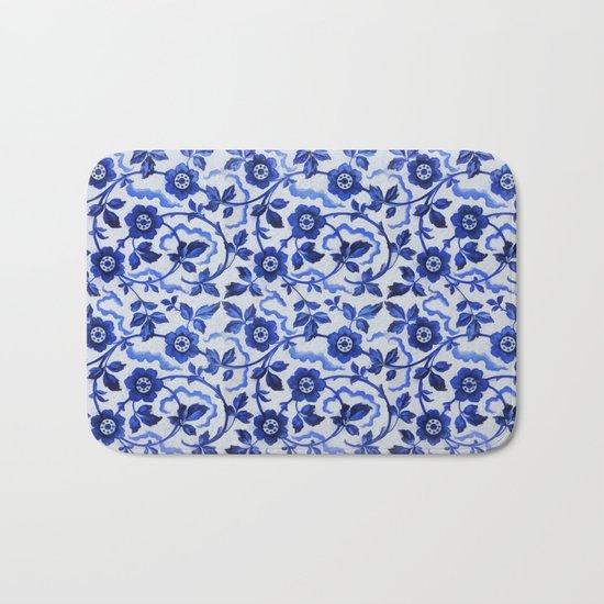 Azulejos blue floral pattern Bath Mat