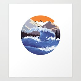 Mountain Waves Mountaineering Oceans Surfer Hikers Sea Water Gift Art Print