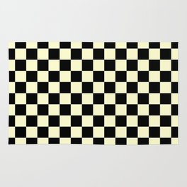 Black and Cream Yellow Checkerboard Rug