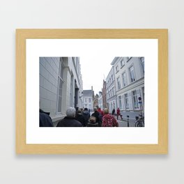Red on a Dreary Day Framed Art Print