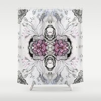 duvet cover Shower Curtains featuring Flower Duvet Cover by Tintedfaint