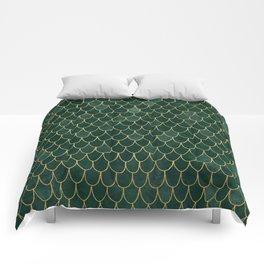 Mermaid Fin Pattern // Emerald Green Gold Glittery Scale Watercolor Bedspread Home Decor Comforters
