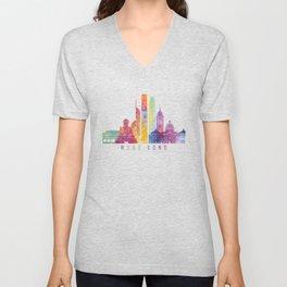 Hong kong skyline landmarks in watercolor Unisex V-Neck