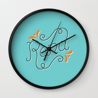 lettering Wall Clocks featuring Rand Lettering by janna barrett