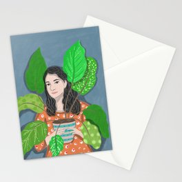 self portrait orange girl painting illustration Stationery Cards