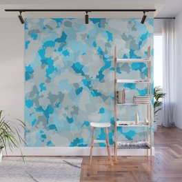 Glamorous large sky blue  camouflage pattern Wall Mural