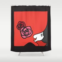 ruby Shower Curtains featuring Ruby by Sophy Henn