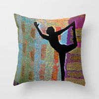 yoga Throw Pillows featuring Yoga by Vicki Lynn Rae