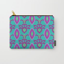 Festival Ikat in Turquoise Carry-All Pouch