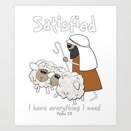 Christian Design - Good Shepherd and Satisfied Sheep. Psalm 23 Art Print