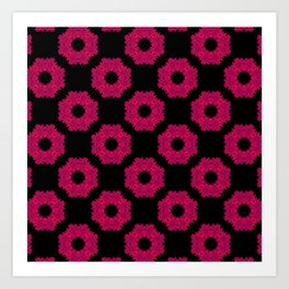 Floral Wreath | Red-pink | Repeating Pattern Art Print