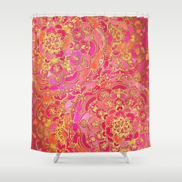 Hot Pink and Gold Baroque Floral Pattern Shower Curtain