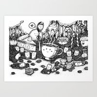 coffe Art Prints featuring Smile coffe by Kisava NiCh