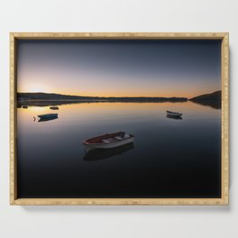 Sunrise over Knysna Lagoon in Western Cape, South Africa Serving Tray