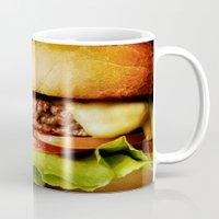 hamburger Mugs featuring Hamburger by Mauricio Togawa