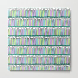 Doodle Books - Pattern in Green, Purple and Blue Metal Print