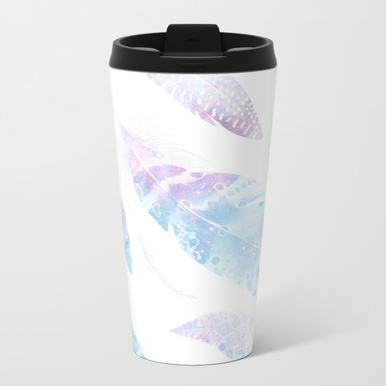 Faded galaxy feathers Metal Travel Mug