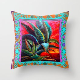 SOUTHWESTERN BLUE AGAVES DESERT LANDSCAPE  TURQUOISE PATTERN Throw Pillow