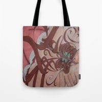 art nouveau Tote Bags featuring Art Nouveau by Matita's Art