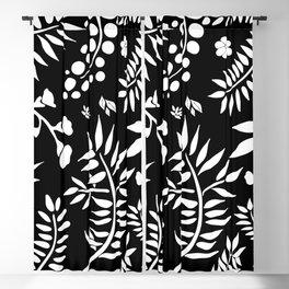 Botanical pattern black & white Blackout Curtain