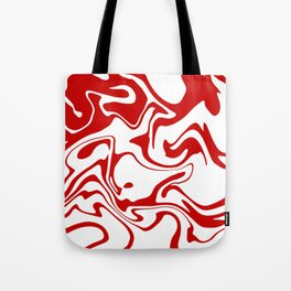 Holiday Red Liquid Marble Effect Pattern Tote Bag