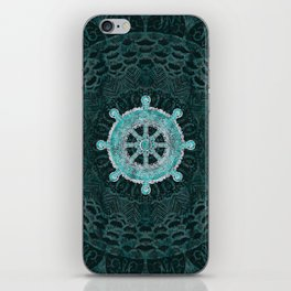 Dharma Wheel - Dharmachakra Silver and turquoise iPhone Skin