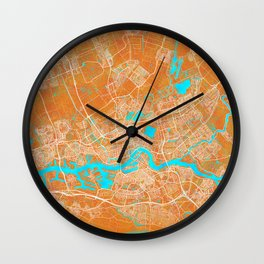 Rotterdam, Netherlands, Gold, Blue, City, Map Wall Clock