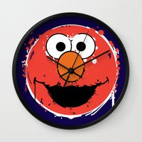 elmo Wall Clocks featuring Elmo splatt by Firepower